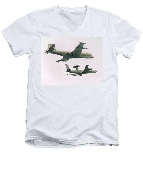 Men's V-Neck T-Shirt featuring the photograph Raf Nimrod And Awac Aircraft by Paul Fearn