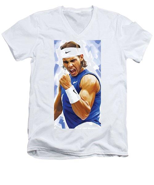 Rafael Nadal Artwork Men's V-Neck T-Shirt