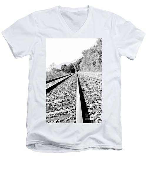 Men's V-Neck T-Shirt featuring the photograph Railroad Track by Joe  Ng