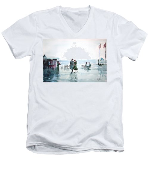 Men's V-Neck T-Shirt featuring the painting Rain Serenad - Moments Of Life... by Faruk Koksal