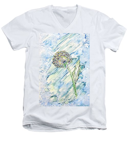 Rainbow And Blue Dandelion Alcohol Inks  Men's V-Neck T-Shirt