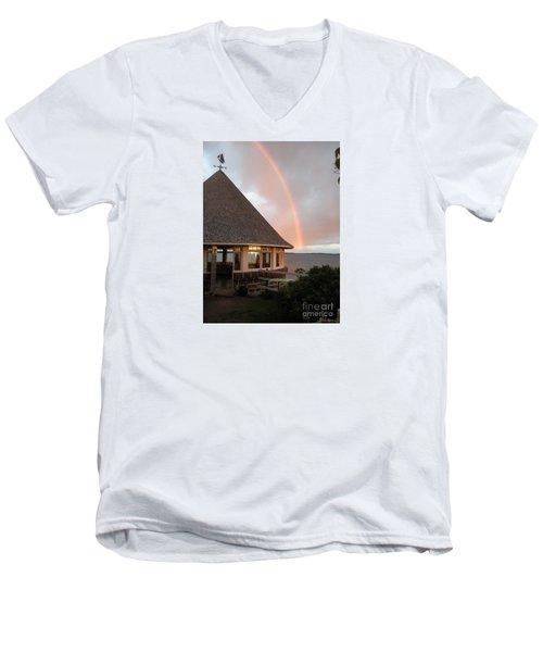 Rainbow At The Bath House Minister Island Nb Men's V-Neck T-Shirt