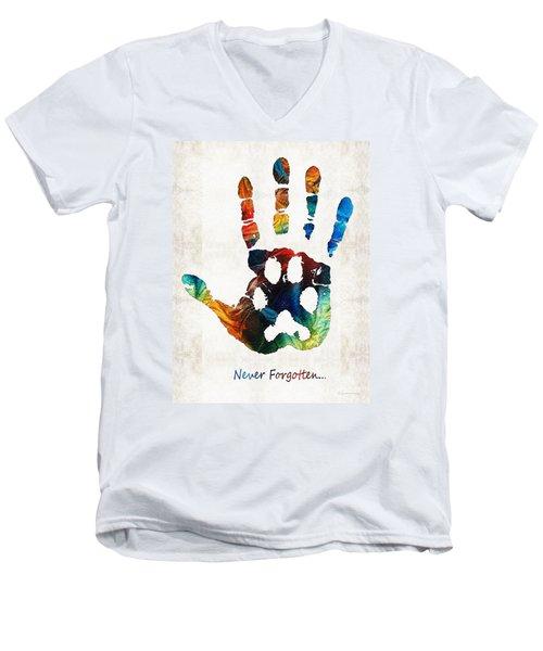 Rainbow Bridge Art - Never Forgotten - By Sharon Cummings Men's V-Neck T-Shirt
