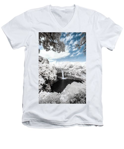 Rainbow Falls In Infrared 4 Men's V-Neck T-Shirt
