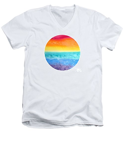 Men's V-Neck T-Shirt featuring the painting Rainbow Landscape  by Susan  Dimitrakopoulos
