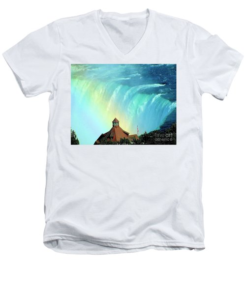 Men's V-Neck T-Shirt featuring the photograph Rainbow Over Horseshoe Falls by Janette Boyd