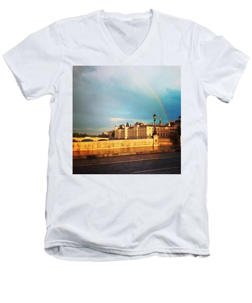 Rainbow Over The Seine. Men's V-Neck T-Shirt by Allan Piper