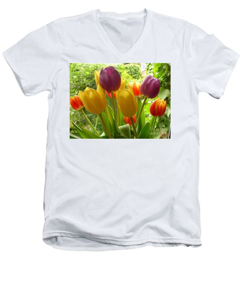 Rainbow Tulips  Men's V-Neck T-Shirt