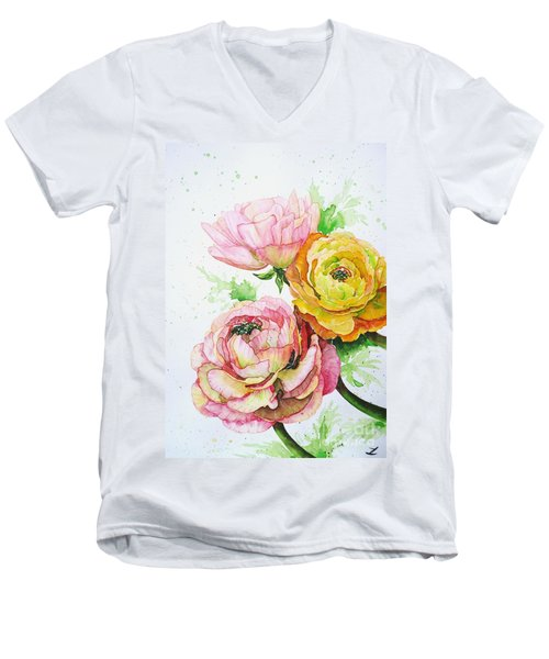 Ranunculus Flowers Men's V-Neck T-Shirt