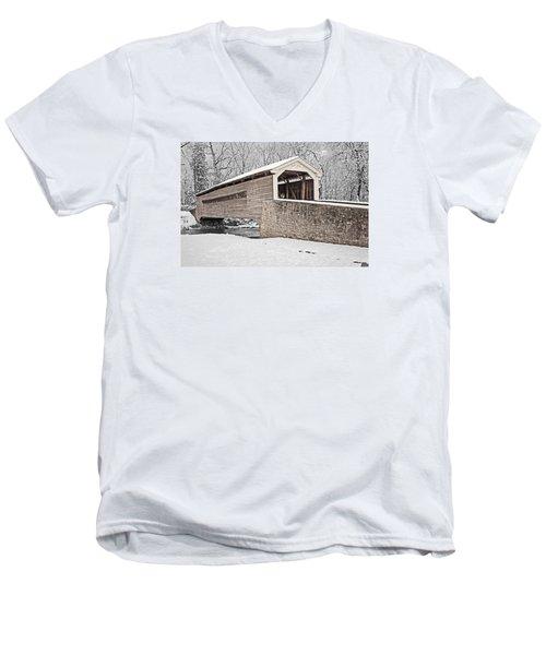 Rapps Bridge In Winter Men's V-Neck T-Shirt by Michael Porchik