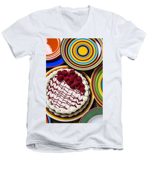 Raspberry Cake Men's V-Neck T-Shirt by Garry Gay