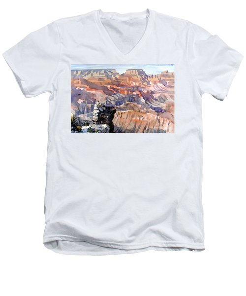 Men's V-Neck T-Shirt featuring the painting Ravens by Donald Maier