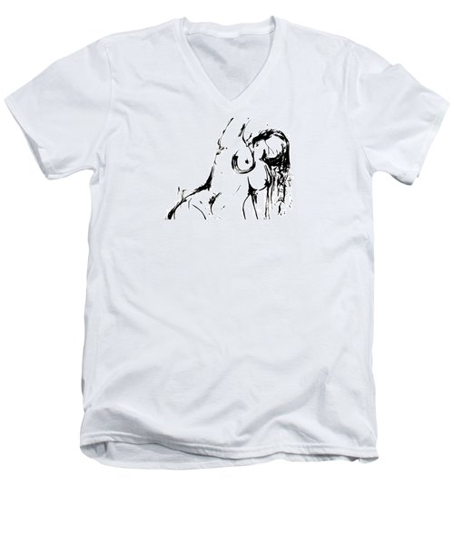 Men's V-Neck T-Shirt featuring the drawing Reach by Helen Syron