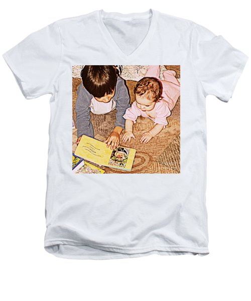 Story Time Men's V-Neck T-Shirt by Valerie Reeves