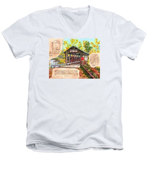 Rebuild The Bridge Men's V-Neck T-Shirt by LeAnne Sowa