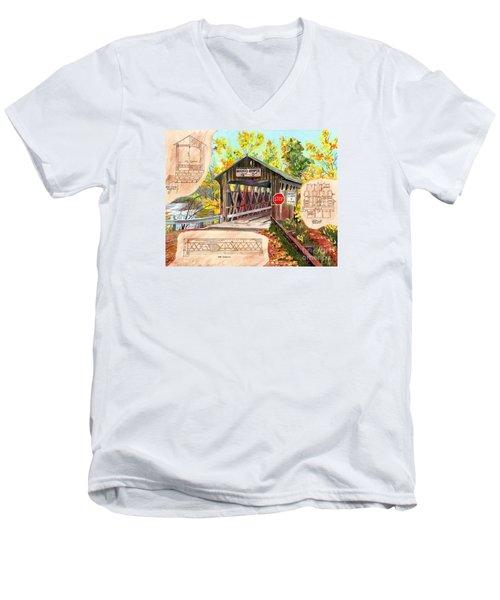 Men's V-Neck T-Shirt featuring the painting Rebuild The Bridge by LeAnne Sowa