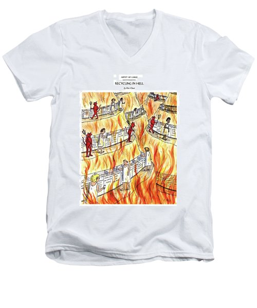 Recycling In Hell Unbent Paper Clips Men's V-Neck T-Shirt