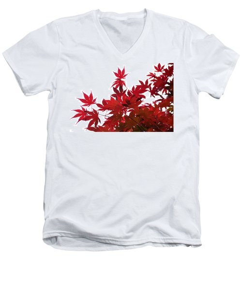 Red And White Men's V-Neck T-Shirt
