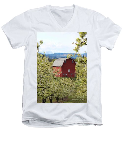 Men's V-Neck T-Shirt featuring the photograph Red Barn And Apple Blossoms by Patricia Babbitt