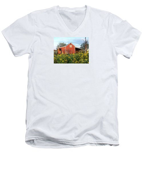 Red Barn With Wild Sunflowers Men's V-Neck T-Shirt by Susan Williams