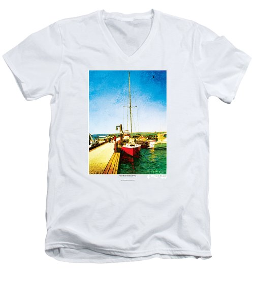 Red Boat Men's V-Neck T-Shirt by Kenneth De Tore