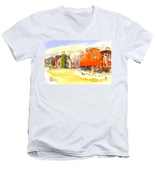 Red Caboose At Whistle Junction Ironton Missouri Men's V-Neck T-Shirt by Kip DeVore