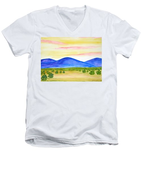Red Clouds Over Mountains Men's V-Neck T-Shirt