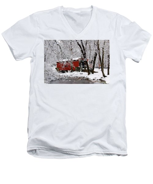 Red Covered Bridge Winter 2013 Men's V-Neck T-Shirt