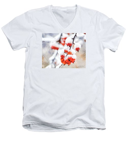 Red Crabapples In The Winter Snow - A Digital Painting By D Perry Lawrence Men's V-Neck T-Shirt by David Perry Lawrence