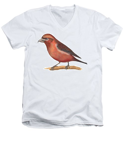Red Crossbill Men's V-Neck T-Shirt by Anonymous