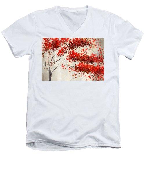 Red Divine- Autumn Impressionist Men's V-Neck T-Shirt