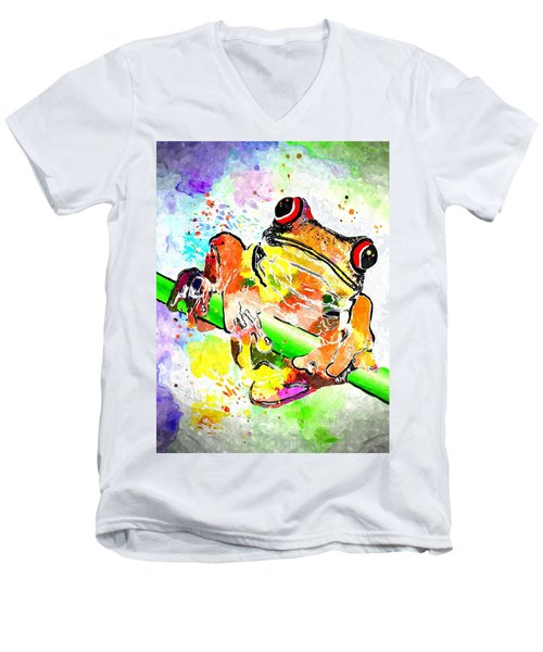 Red Eyed Tree Frog Grunge Men's V-Neck T-Shirt