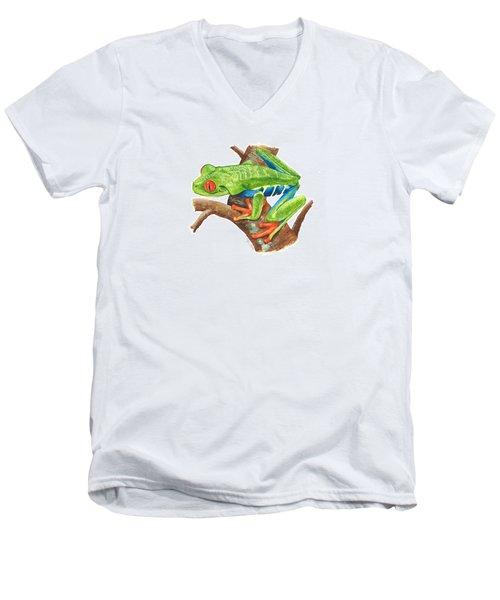 Red-eyed Treefrog Men's V-Neck T-Shirt by Cindy Hitchcock