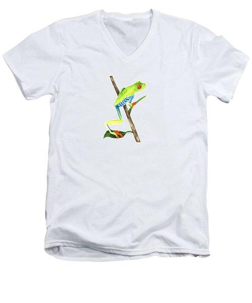 Red-eyed Treefrog From La Selva Men's V-Neck T-Shirt