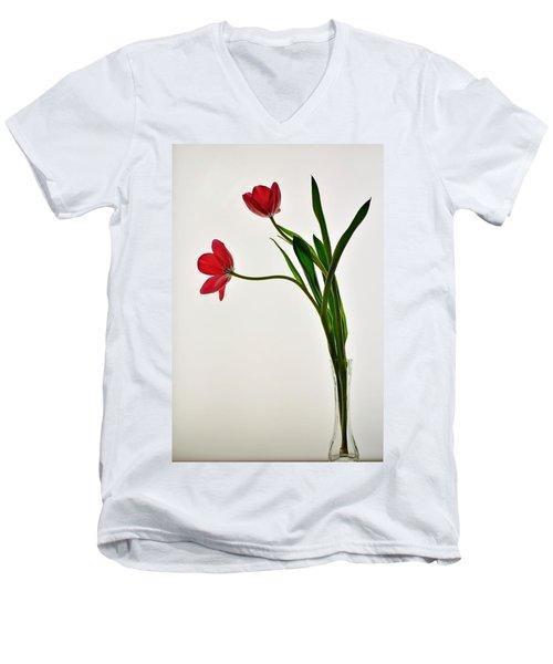 Red Flowers In Glass Vase Men's V-Neck T-Shirt