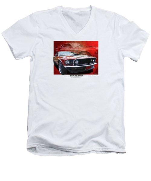 Boss Mustang Men's V-Neck T-Shirt by Kenneth De Tore