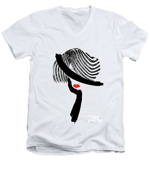 Men's V-Neck T-Shirt featuring the painting Red Lips by Rafael Salazar