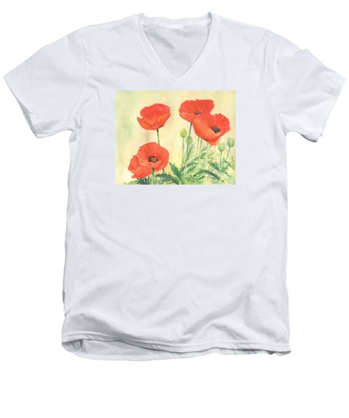 Red Poppies 3 Colorful Watercolor Poppy Floral Original Art Flowers Garden Artist K. Joann Russell Men's V-Neck T-Shirt