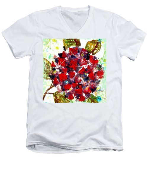Men's V-Neck T-Shirt featuring the painting Red Purple Flower by Joan Reese