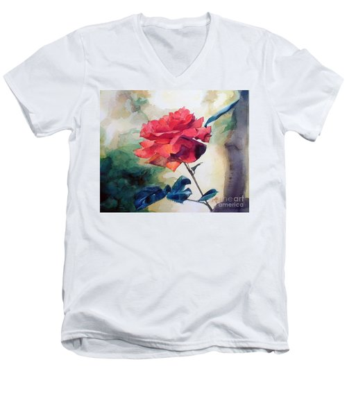 Men's V-Neck T-Shirt featuring the painting Red Rose On A Branch by Greta Corens