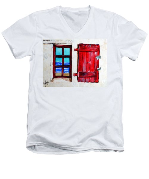 Red Shutter Ocean Men's V-Neck T-Shirt by Jackie Carpenter