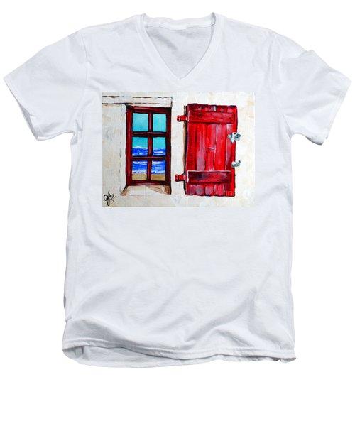 Red Shutter Ocean Men's V-Neck T-Shirt