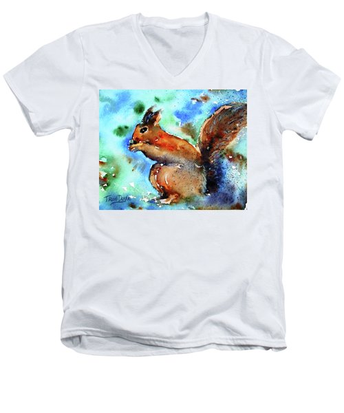Red Squirrel  Men's V-Neck T-Shirt by Trudi Doyle