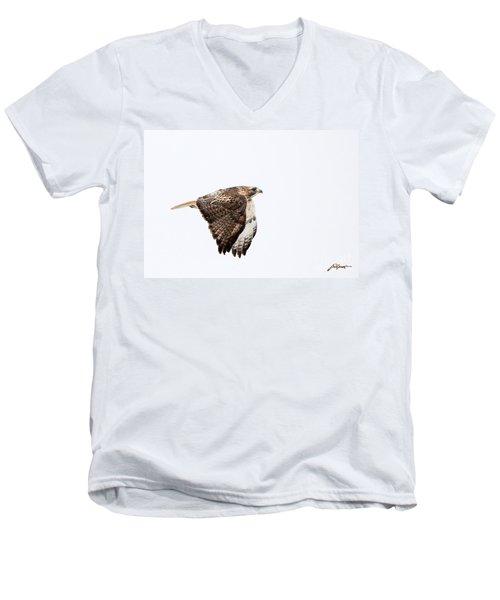 Red Tail In Flight Men's V-Neck T-Shirt