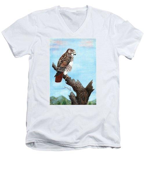 Red Tailed Hawk Men's V-Neck T-Shirt