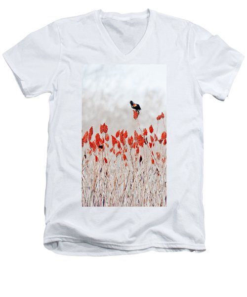 Red Winged Blackbird On Sumac Men's V-Neck T-Shirt
