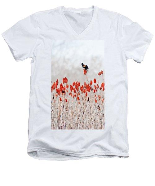 Red Winged Blackbird On Sumac Men's V-Neck T-Shirt by Steven Ralser