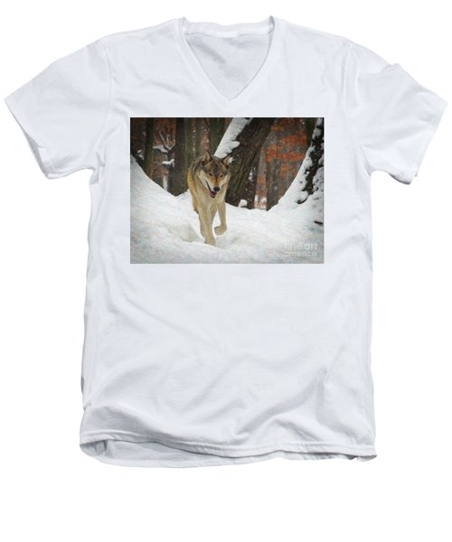 Men's V-Neck T-Shirt featuring the digital art Red Wolf On A Winter Hunt by Lianne Schneider