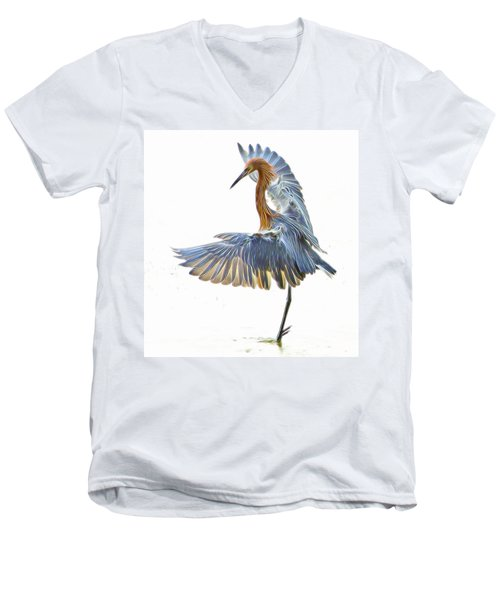 Reddish Egret 1 Men's V-Neck T-Shirt by William Horden