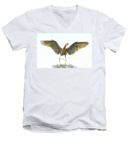 Reddish Egret 2 Men's V-Neck T-Shirt by William Horden